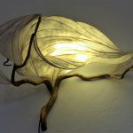 illuminated sculpture made with paper, oak, reed, glue, and LED lighting OOAK home decor