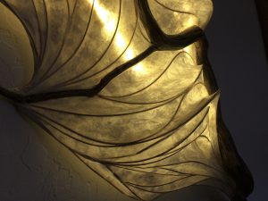 papier mache lamp illuminated sculpture wall hanging wood paper LED