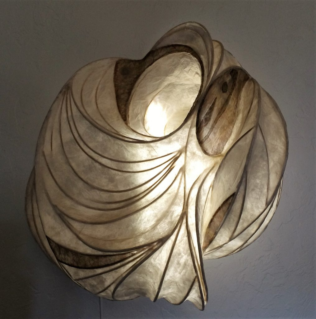 papier mache lamp illuminated sculpture wall hanging copper paper reed LED